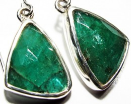 NATURAL EMERALD EARRINGS -SILVER [SJ4105]