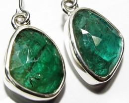 NATURAL EMERALD EARRINGS -SILVER [SJ4106]