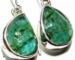 NATURAL EMERALD EARRINGS -SILVER [SJ4108]