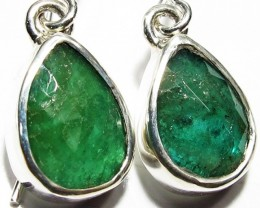 NATURAL EMERALD EARRINGS -SILVER [SJ4109a]5