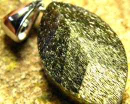 SHIMMERING PYRITE SILVER  PENDANT 6.30 CTS [SJ423]