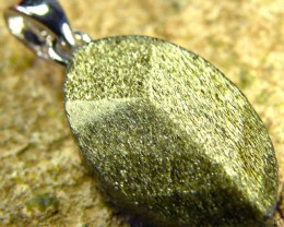 SHIMMERING PYRITE SILVER  PENDANT  6.65 CTS [SJ437]