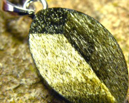 SHIMMERING PYRITE SILVER  PENDANT  6.05 CTS [SJ440]