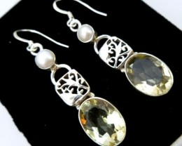 PEARL AND CITRINE LONG EARRINGS SWING RT 955