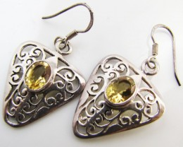 26 Cts Bright Citrine set in silver Earrings  MJA 964
