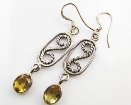 21 Cts Bright Citrine set in silver Earrings  MJA 965