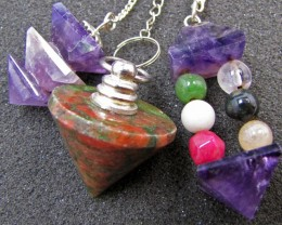 Three mixed Gemstone Pendulums MJA 4354