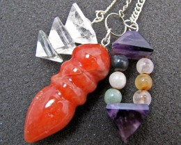 Three mixed Gemstone Pendulums MJA 436