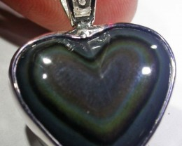 MEXICAN CHATOYANT OBSIDIAN S/S PENDANT AGR 727