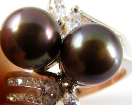 BLACK PEARL SILVER RING CZ SIZE 7.5  AAT 975