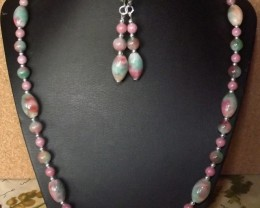 NEW-20 INCH CANDY JADE NECKLACE WITH FREE EARRINGS