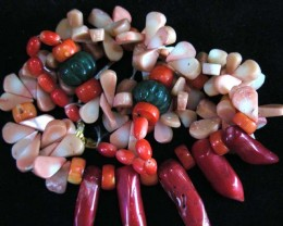 WILD CORAL  NECKLACE  BEAD STRAND   11 162