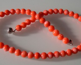 VERY NICE PINK ORANGE CORAL NECKLACE 43cm