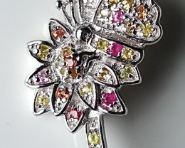 Magnificent Butterfly Flower Sapphire Sterling Silver Brooch