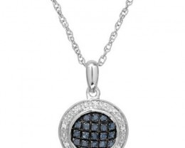 NEW- .20CTW NECKLACE WITH BLUE AND WHITE DIAMONDS WITH 925 STERLING SILVER