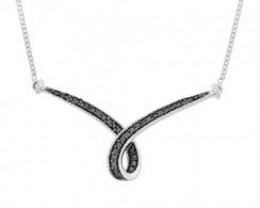 NEW NECKLACE WITH GENUINE BLACK DIAMONDS