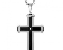 NEW - 210 TCW  MENS CROSS PENDANT WITH GENUINE DIAMONDS AND CHAIN