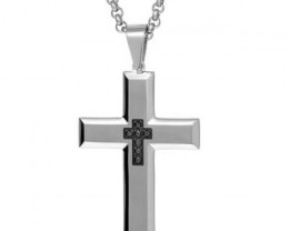 NEW - 133.90 TCW MENS CROSS PENDANT WITH GENUINE DIAMONDS AND 24 INCH CHAIN