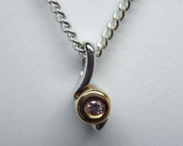Pink Champagne Diamond 18k White and Yellow Two Tone Gold Pendant