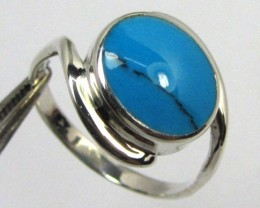 TURQUOISE SILVER RING SIZE  10   GG 1004