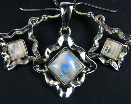 MOONSTONE GEMSTONE  SILVER SET EARRING N PENDANT  GRR 259