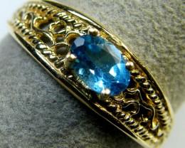 BLUE TOPAZ  FIGERINE DESIGN  RING SIZE   9    MY 902
