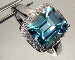 BLUE TOPAZ  SILVER RING 32.95 CTS  SIZE-12    RJ-75