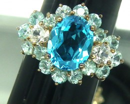 BLUE TOPAZ  SILVER RING  25.70 CTS  SIZE-5.25  RJ-79