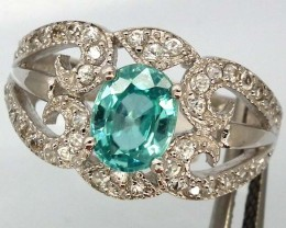BLUE TOPAZ  SILVER RING  27.05 CTS  SIZE- 7.25   RJ-212