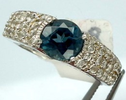 BLUE TOPAZ  SILVER RING  19.70 CTS  SIZE-  7.25  RJ-216