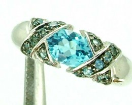 BLUE TOPAZ  SILVER RING  19.70 CTS  SIZE-7.25    RJ-226
