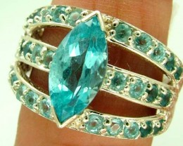 BLUE TOPAZ  SILVER RING   30.3CTS   SIZE-8.5    RJ-643