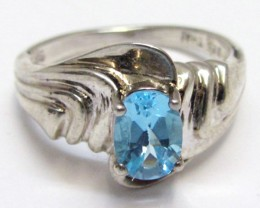 Topaz Blue set in silver ring  size  7 MJA 537