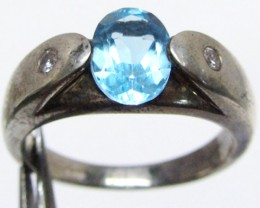 Topaz Blue set in silver ring  size 7.5  MJA 538
