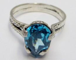 Topaz Blue set in silver ring  size 9.5 MJA 540