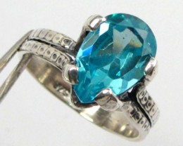 BLUE TOPAZ  STERLING SILVER RING SIZE  9.5   GG1003