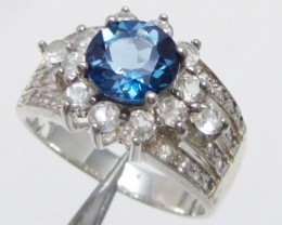 Topaz Blue set in silver ring size 13.5  MJA 824