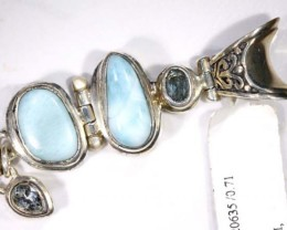 LARIMAR JEWELRY  STERLING SILVER-STAMPED  BABY BLUE COLOUR  WITH BLUE TOPAZ