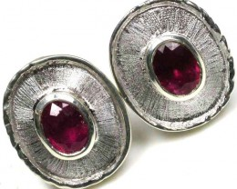 free shipping NATURAL RUBY SILVER EARRINGS 33.10 CARATS   GTJA91