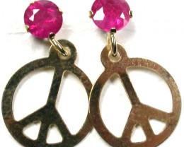 RUBY 10K  YELLOW GOLD   EARRINGS    GTJA234