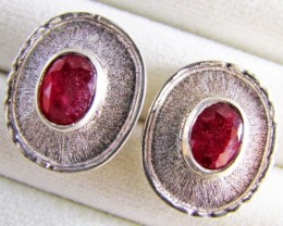 32 Cts Gem Ruby set in Silver Earrings  MJA 644
