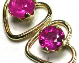 RUBY 14K  YELLOW GOLD   EARRINGS    GTJA233