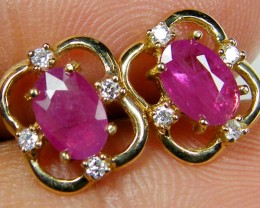 FREE SHIPPING NATURAL RUBY 14K YELLOW GOLD EARRINGS  MYT 809