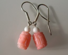 BEAUTIFUL NATURAL PINK CORAL  and SILVER EARINGS