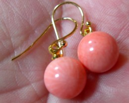 VERY NICE PINK CORAL EARRINGS