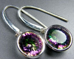 RAINBOW MYSTIC QUARTZ GEMSTONE SILVER EARRINGS GTJA721