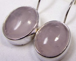 19  CTS ROSE QUARTZ  SILVER SHEPPARD HOOK EARRINGS MYGM484