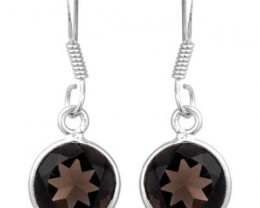 NEW - 4.60 CTW SMOKEY TOPAZ 925 STERLING SILVER EARRINGS