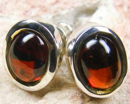CABOCHON GARNETGEMSTONE  STYLISH  SILVER EARRINGS    GRR 173