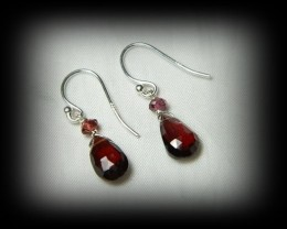 Quality Spessarite/Rhodolite Garnet .925 Silver Earrings JW11